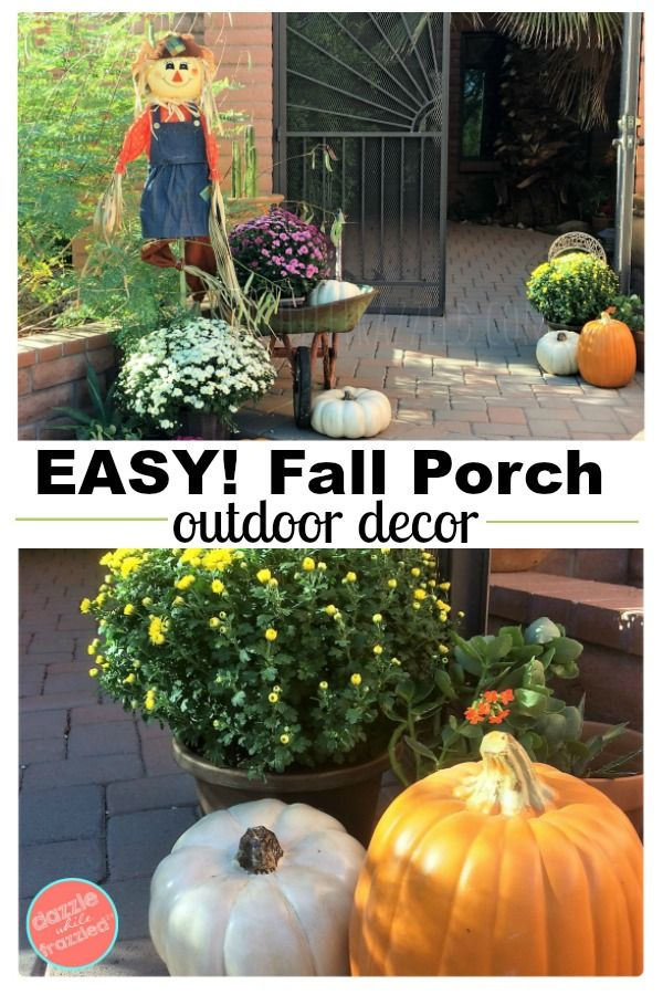 Outdoor Front Porch Decorating Ideas For Autumn And The Harvest Season Easy And Affordable Fall Outdo Fall Outdoor Decor Fall Porch Decor Diy Porch Decorating