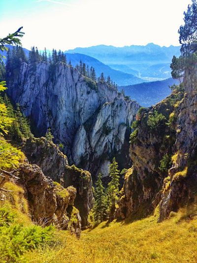 Laber Mountain to the Schartenkopf and back to Oberammergau is a circuit hike which offers incredible views over the Ammergau Alps and a little rock climbing adventure...if you're up for it!  Views of the Ammergau Alps from the more