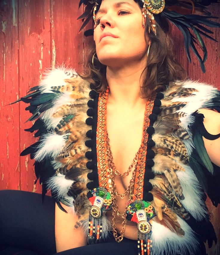 Natural feather Burning Man inspired festival feather waistcoat/feather collar/feather breastplate
