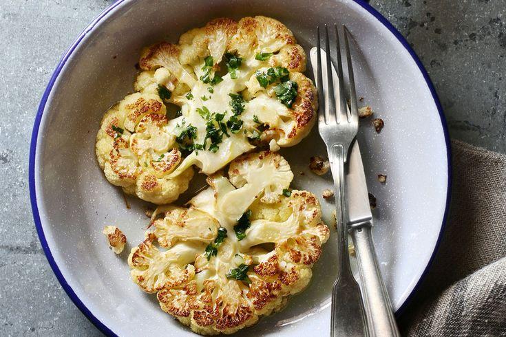 Serpenyőben sült sajtos karfiol