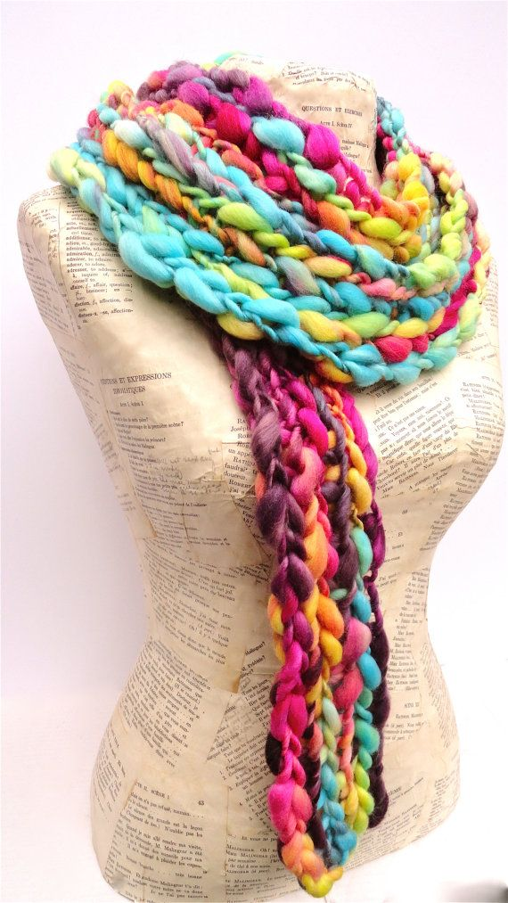 Big Box of Crayons Scarf Rainbow Chunky Knit Thick and Thin Merino Art Yarn on Etsy, $99.00
