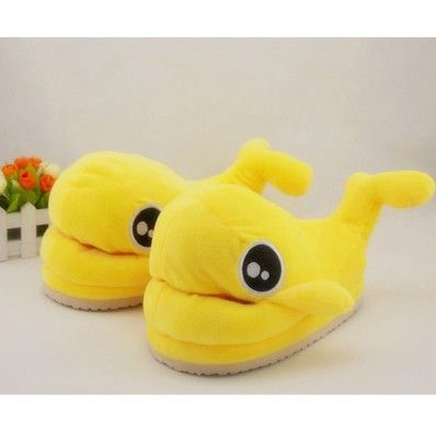 $21.59  Animal Dolphin Adult Womens Plush Yellow Slippers