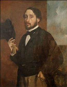 Self portrait or Degas Saluant, Edgar Edgar Degas, né le 19 juillet 1834 à Paris et mort le 27 septembre 1917