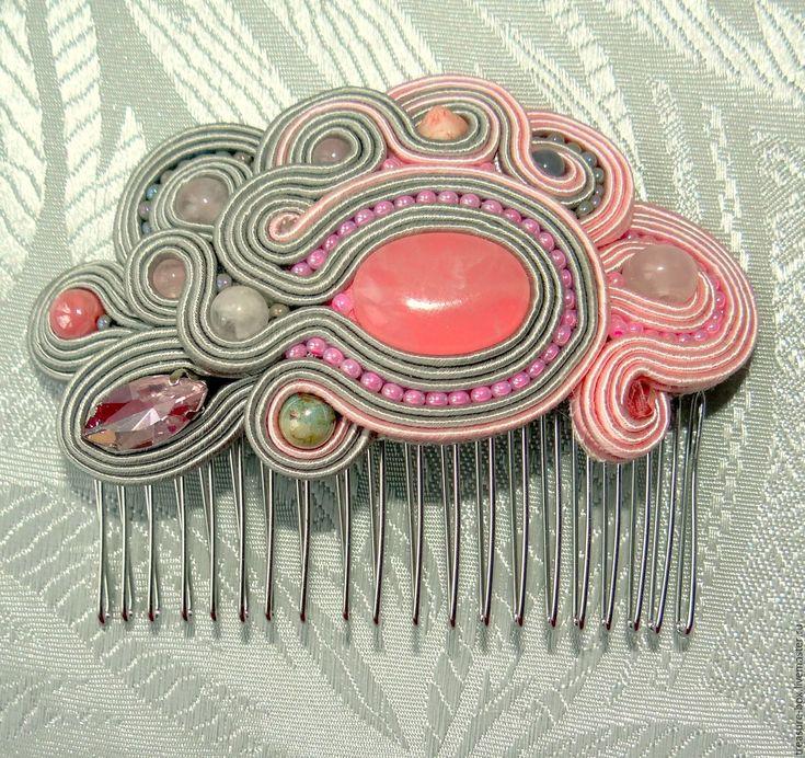 """Купить Гребень """"Розовая дымка"""" сутажная вышивка - бледно-розовый, подарок девушке, подарок женщине"""