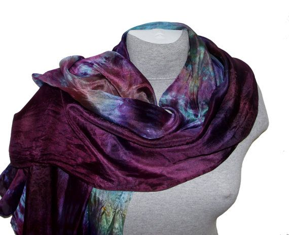Violet Silk Scarf Hand Painted Silk Scarves Gift for Her Mother birthday gift Hand dyed Scarves Silk Painting Summer Party Summer Outdoors