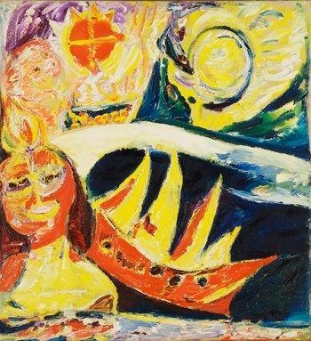 Carl-Henning Pedersen -  Rod Stjernesol og skib (Red starry sky and ship) 1951 - Cobra Museum Amstelveen NL #collectievissen #transport
