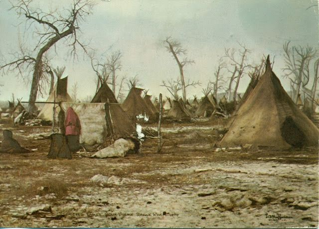 Rare color photo of a Sioux Indian village (no date or source).