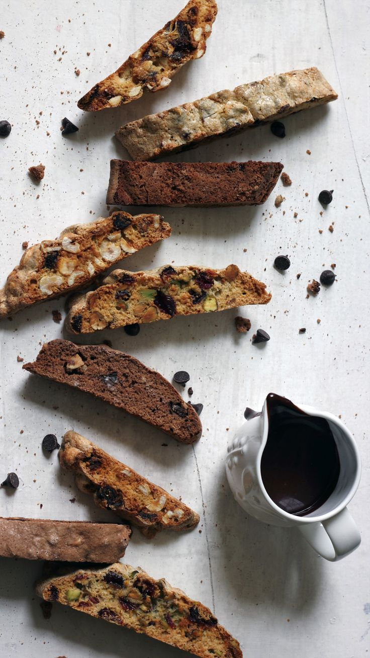These chocolate and pistachio biscotti keep for ages and make great presents. The dipping sauce is amazing.