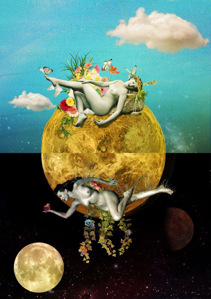 """Venusi[amas] ~~ """"Vênus complementar, atraindo e encaixando dia e noite. O sol em Touro, domicílio noturno de Vênus, arrasta o dia, enquanto a Lua em Libra, domicílio diurno de Vênus, enfeita a noite. Invertidos, yin e yang se atraem, abrigam, bagunçam e invertem horários. Trocam e tocam energias sinestésicas. Ao final, tudo é harmonia e a harmonia é a casa do amor. """""""