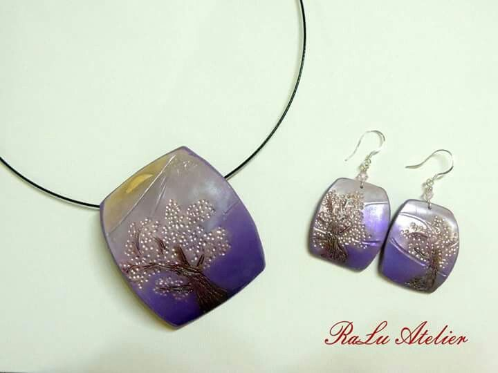 Polymer clay pendant and earrings - cherry blossom
