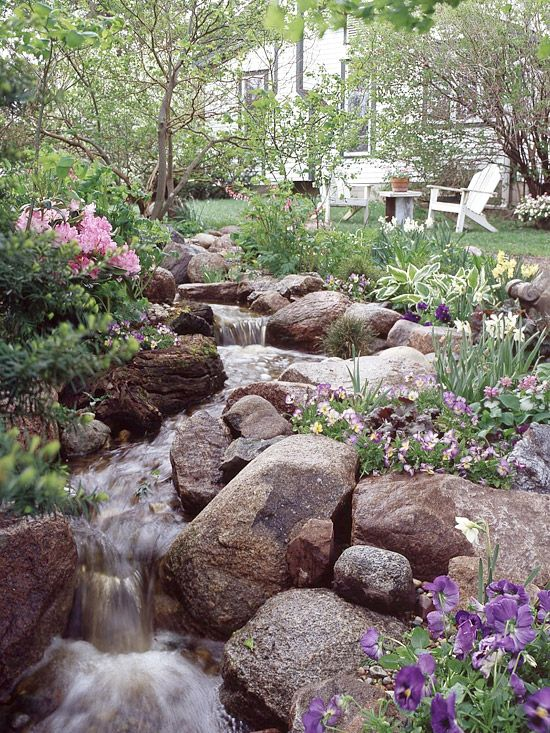 Dream Stream This stream is actually a series of small water features - each cascade, fall, riffle, and run is individually crafted so the water moves at a pleasing rate while making a delightful sound. Backyard Stream, Garden Stream, Backyard Water Feature, Fun Backyard, Garden Ponds, Small Water Features, Outdoor Water Features, Water Features In The Garden, Landscape Design