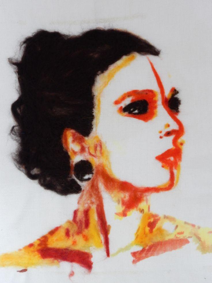 Oudste dochter. gemaakt in juni 2013. Wol op textiel.  My ealdest daughter. Painting june 2013. Wool and handpaints on textile  Geskea Andriessen  - sold-