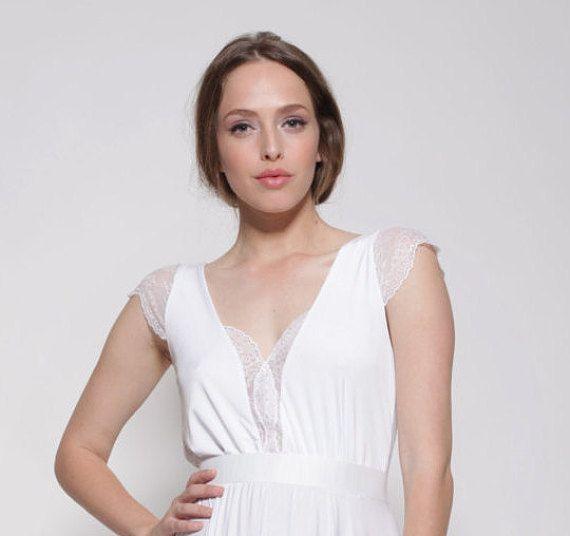 Simple Wedding Dress, Casual Wedding Dress, Lace Short