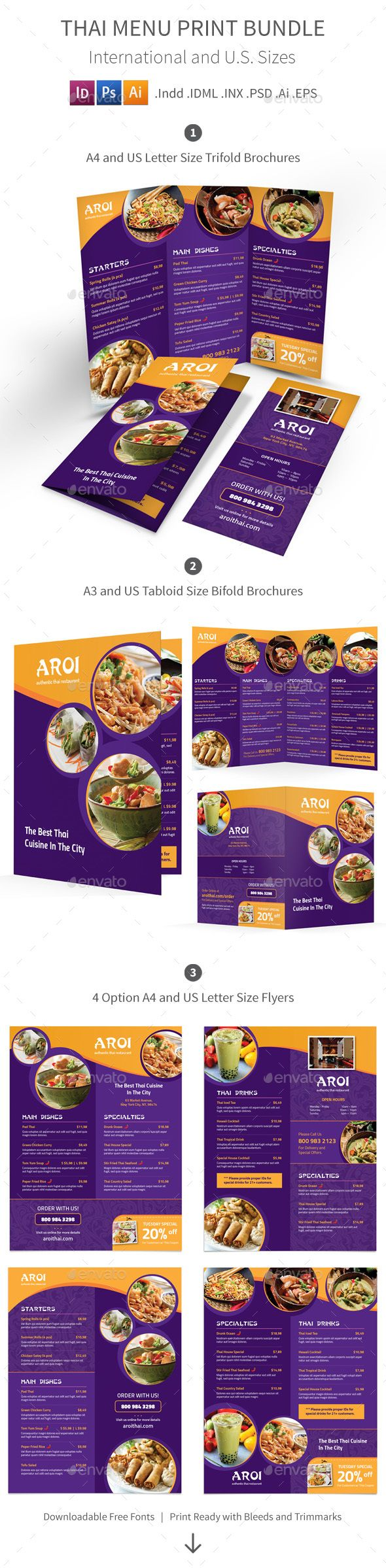 Thai Restaurant Menu Print Bundle — Photoshop PSD #clean #food • Available here → https://graphicriver.net/item/thai-restaurant-menu-print-bundle/15881747?ref=pxcr