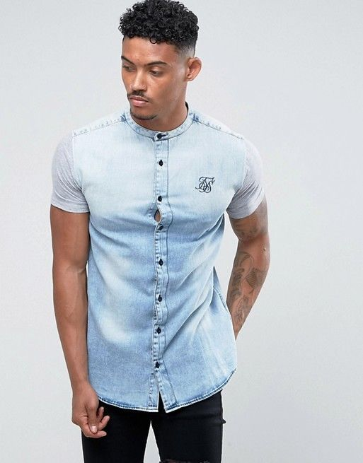 Product Details: Sik Silk Short Sleeve Denim Shirt - Denim/Grey. Step up your night out 'fits in this men's Short Sleeve Denim Shirt from SikSilk. Denim applique with jersey sleeves. Muscle fit. We do not own any of the pictures illustrated. | eBay!