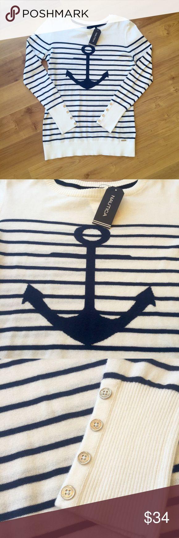 NWT Nautica Anchor Sweater NWT Nautica Sweater. Women's medium. 100% cotton. Sorry, no trades but open to offers! Nautica Sweaters Crew & Scoop Necks