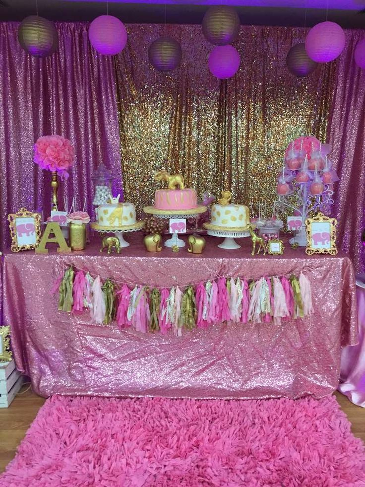 Pink & Gold Safari Baby Shower Party Ideas | Animal Party ...