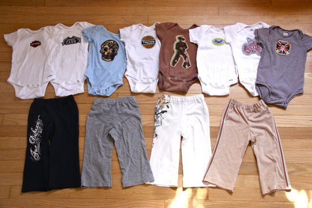 Appliqued onesies and t-shirt pants. Just what Little Man needs for the coming warm weather!