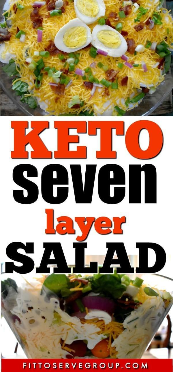 Keto Seven Layer Salad It S Layer After Layer Of Low Carb Veggies And Topped With A Rich Creamy Dressing Seven Layer Salad Low Carb Veggies Keto Side Dishes
