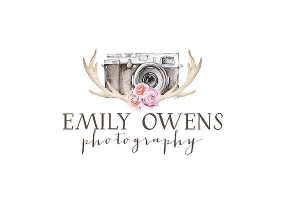 Photography logo and watermark, premade watercolor flowers logo design, bohemian logo, vintage tribal floral arrow logo custom design 224
