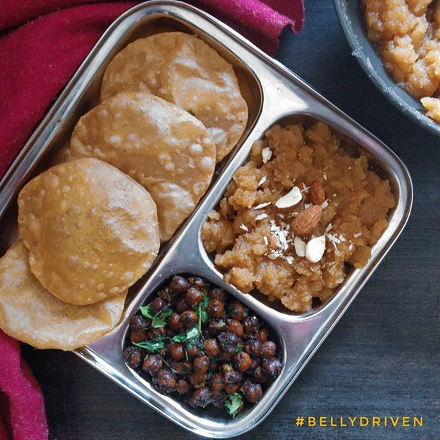 The Puri Chana And Halwa Thali I Know That It S Not Navratri Yet But Little M Wanted To Eat Halwa And Puri So I Thought Indian Food Recipes Easy Meals Food