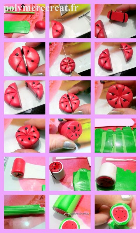 tutoriel fimo cane pastèque. tutorial Fimo watermelon cane