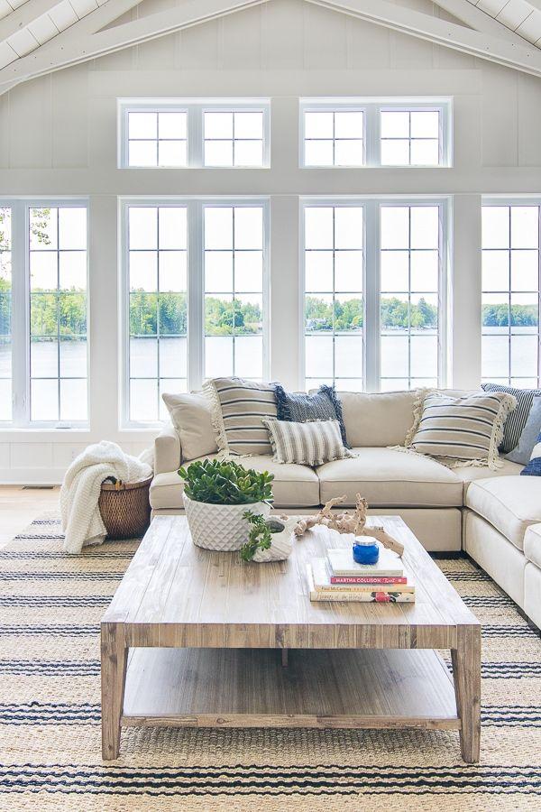 New House Tour White Living Room Decor Blue And White Living
