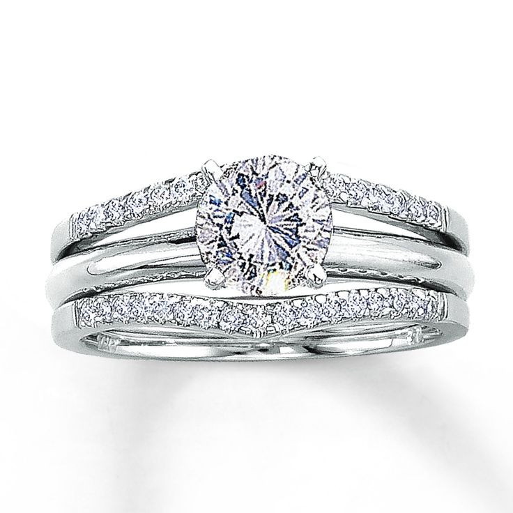 Want this Solitaire Enhancer for my engagement ring!!  Jared - Diamond Enhancer Ring 1/4 ct tw Round-cut 14K White Gold