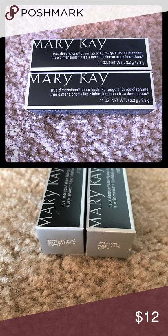 Mary Kay True Dimensions Sheer Lipstick Mary Kay True Dimensions Sheer Lipstick. Available in Sparkling Rose and Posh Pink. New in box. Price per item. Mary Kay Makeup Lipstick