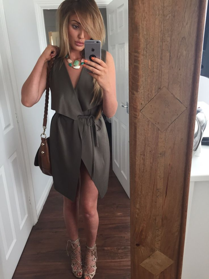 In The Style - Khloe Sleeveless Waterfall Khaki Jacket (As Seen On Charlotte Crosby), £19.99 (http://www.inthestyle.com/khloe-sleeveless-waterfall-khaki-jacket-as-seen-on-charlotte-crosby/)