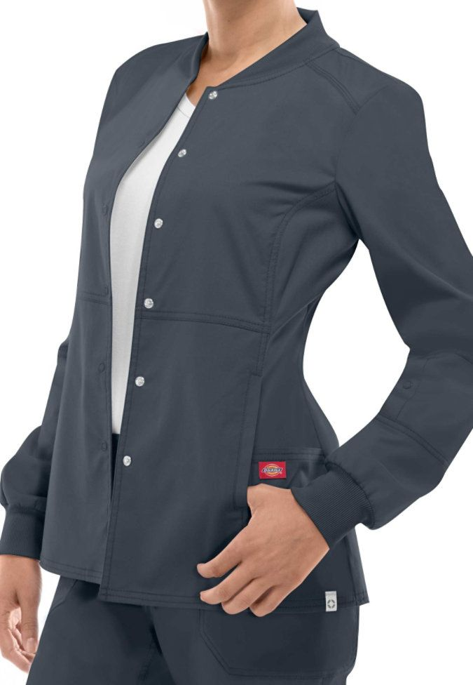 Dickies EDS Signature Stretch snap front scrub jacket with Certainty. Main Image