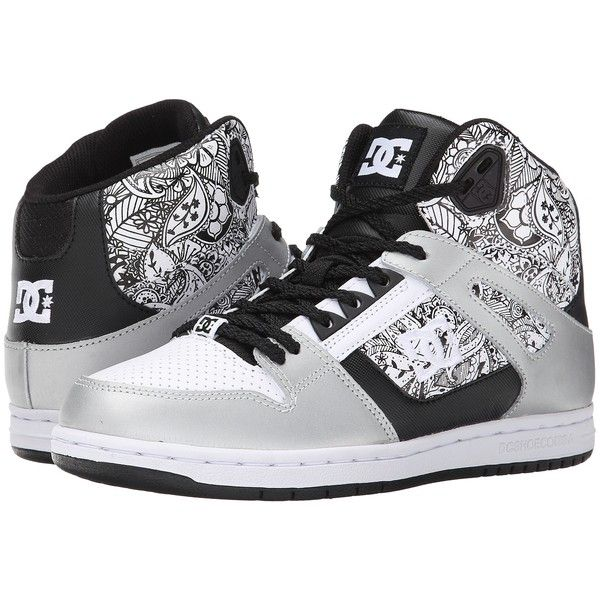 DC Rebound High SE Women's Skate Shoes, Multi ($56) ❤ liked on Polyvore featuring shoes, multi, patterned shoes, skate shoes, leather high tops, dc shoes high tops and dc shoes