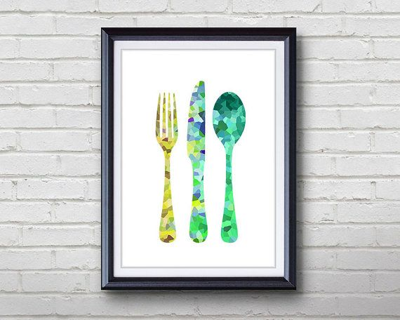 Cutlery Fork Knife Spoon Kitchen Print  Home Living  by Thing3Art