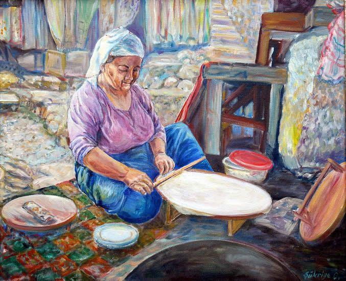Ekmek açan kadın. Tuval üzerine yağlıboya 40x50cm. 600 TL. http://sukriyegocer.com.tr/index.aspx