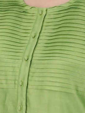 Green Round Neck Pintuck Chanderi Kurta