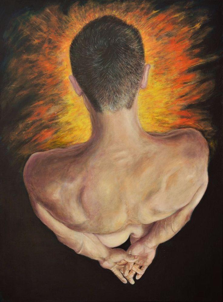 5 WATCHERS LARGE Original Painting nude male fire portrait art Sergio Ianniello #Realism
