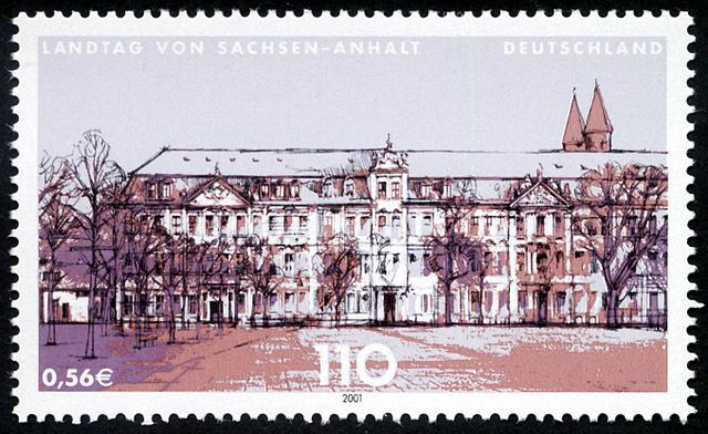 Stamp Germany 2001 MiNr2184 Landtag Sachsen Anhalt.jpg