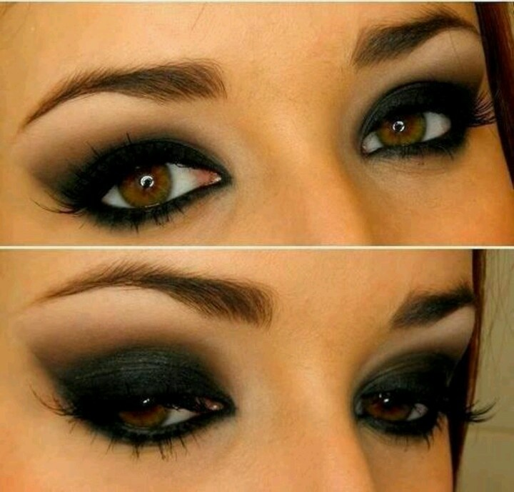 REALLY dark smokey eye. Black shadow really makes brown eyes stand out -  love this!