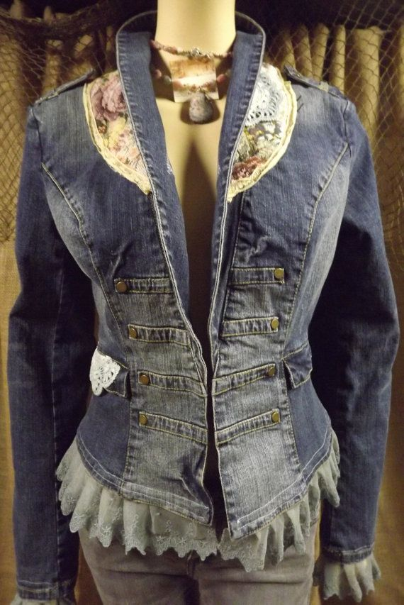 Cowgirl+Chic+Denim+Jacket+Romantic+Upcycled+by+bluemermaiddesigns,+$89.00