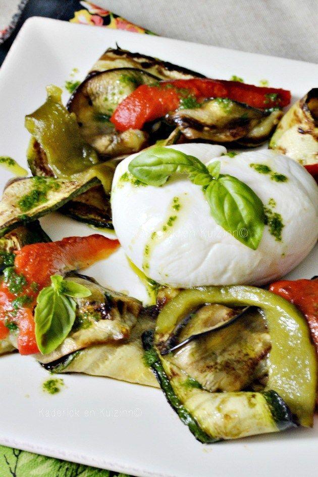 Salade mozzarella tiède aux légumes grillés à la plancha et pesto de basilic