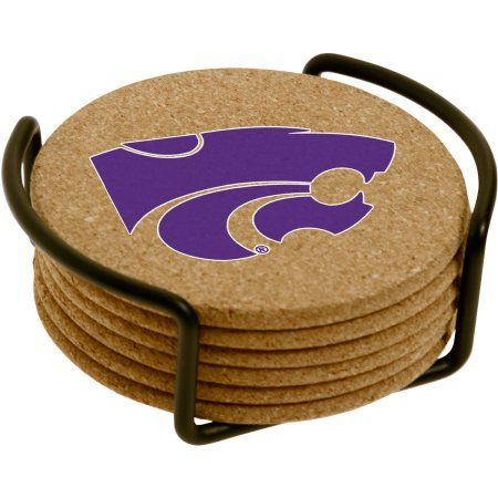 Set of Six Cork Coasters with Holder Included, Kansas State University, Multicolor