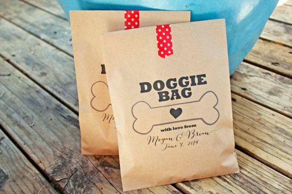 Wedding Dog Bag favor from your pets or to your guests pets. THOSE ARE FOR DOGS! - Portlandia Custom printed brown paper bags. Perfect for dog treats