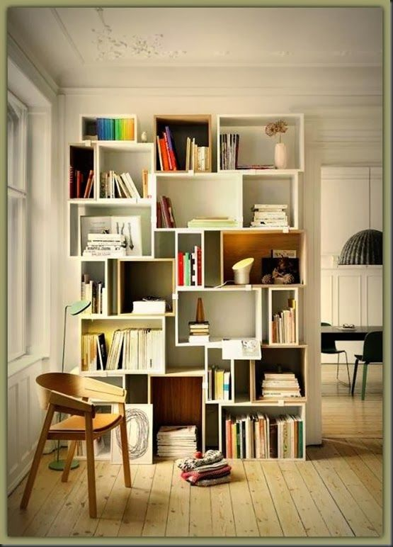 Cool Modular Stacked Shelf - could DIY with some different sized wooden boxes or pre-made and painted crates :)