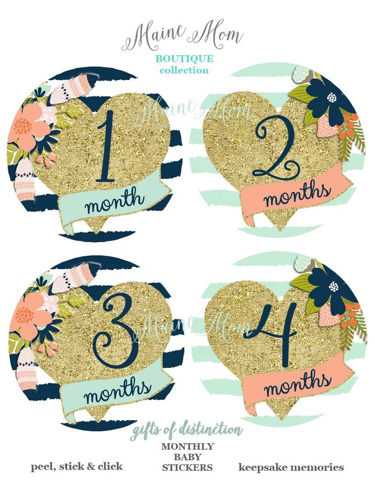 FREE GIFT, Gold Heart, Baby Girl Month Stickers, Baby Monthly Stickers, Milestone Stickers, Flowers, Navy, Mint, Coral, Gold Nursery Decor by MaineMomBoutique on Etsy https://www.etsy.com/listing/288451625/free-gift-gold-heart-baby-girl-month