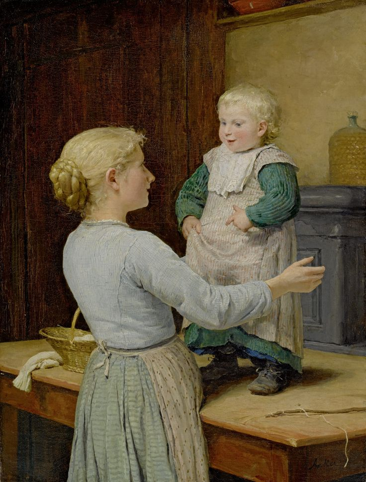 """The Older Sister"" (circa 1889), by Swiss artist - Albert Anker (1831-1910), Oil on canvas, 66 x 46 cm. (25.98 x 18.11 in.), Private collection."