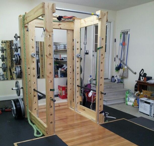 Selfmade power rack for home gym homemade