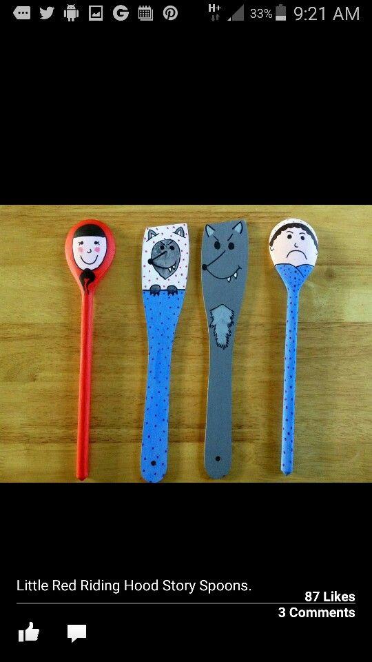 Cheap puppets wooden spoons little red riding hood - Cheap wooden spoons for craft ...