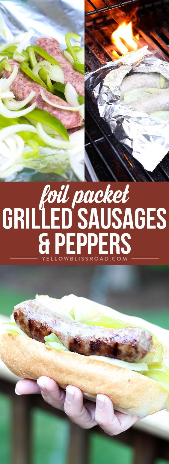 Foil Packet Grilled Sausage & Peppers - A satisfying grilled dinner that is perfect for feeding a crowd at a backyard barbecue and easy enough for a weeknight dinner.