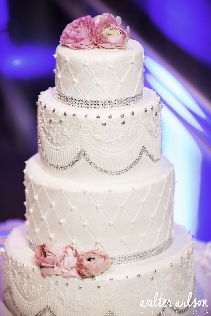 White Wedding Cake With Silver Accents And Pink Flowers Sandiegoweddings Photo Cred Walter Wilson
