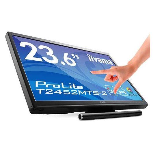 """la compañía japonesa Iiyama por medio de la marca ProLite. Presenta el su pantalla ProLite T2452MTS-2 el más nuevo de sus productos, o uno de los más nuevos, las pantallas de (60 cm) de pantalla 23.6"""" está protegido por un panel de vidrio resistente a los arañazos,"""